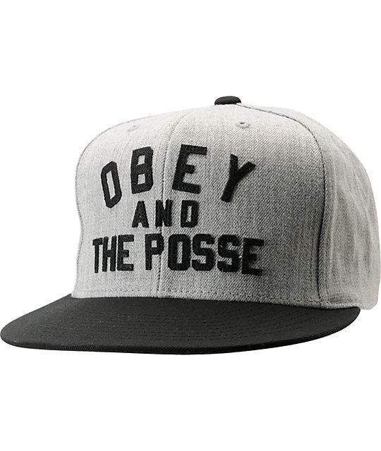 24e2933c32b Obey And The Posse Heather Grey   Black Snapback Hat