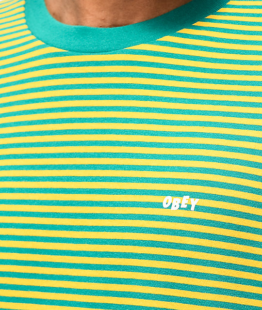 Obey Apex Blue-Green & Gold Stripe Long Sleeve T-Shirt