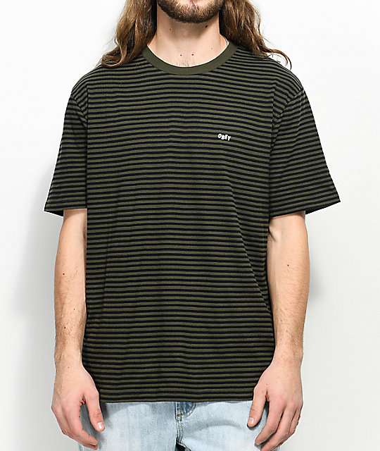 7261b5e679 Obey Apex Green & Black Stripe Knit T-Shirt | Zumiez