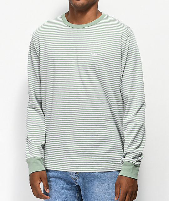 Obey Apex Green Striped Long Sleeve T-Shirt