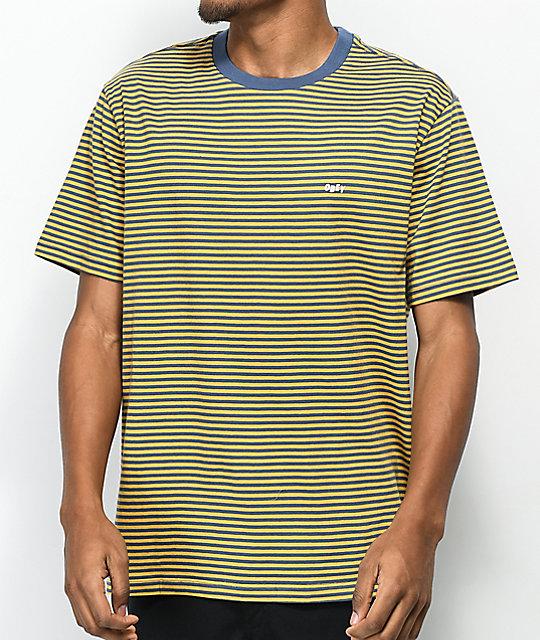 96c91c757 Obey Apex Yellow & Blue Striped Knit T-Shirt   Zumiez