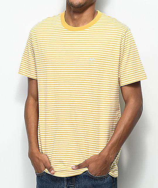 44c24b336 Obey Apex Yellow & White Striped T-Shirt   Zumiez