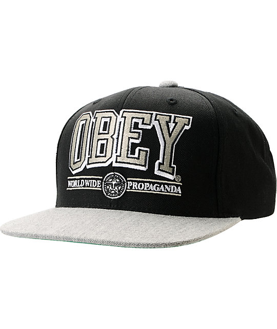 9da2467e038 Obey Athletics Black   Heather Grey Snapback Hat