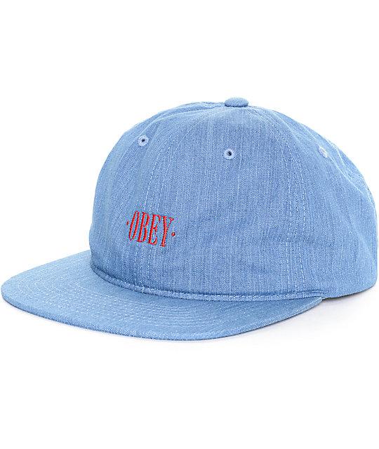 Obey Atlanta Denim Strapback Hat  8ee3a4c652f