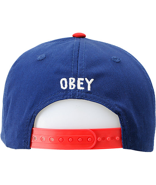 Obey Avast Blue & Red Snapback Hat