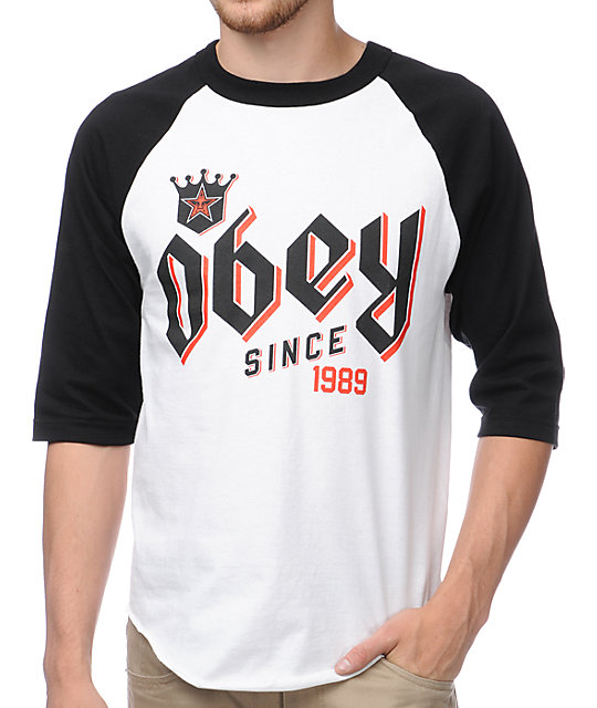 Obey Bar King Black & White Baseball T-Shirt