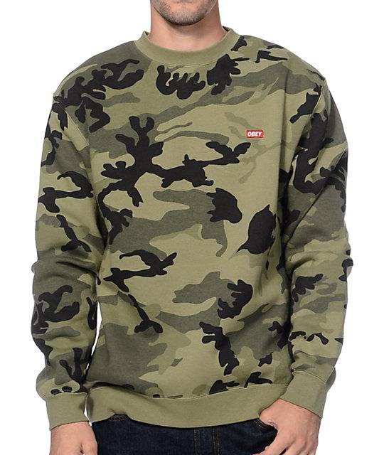 77a330a565b7 Obey Bar Logo Camo Crew Neck Sweatshirt