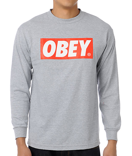 Obey Bar Logo Grey T-Shirt
