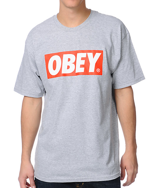 Obey Bar Logo Heather Grey T-Shirt