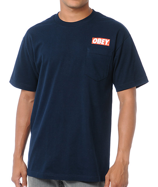 Obey Bar Pocket Navy T-Shirt
