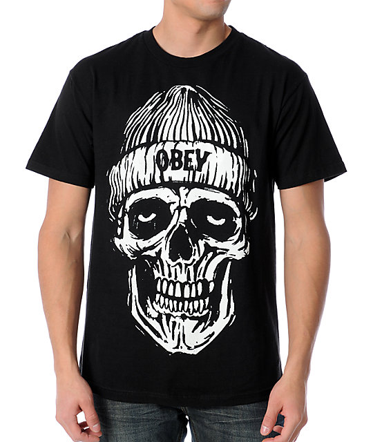 Obey Beanie Skull Black Glow In The Dark T Shirt Zumiez