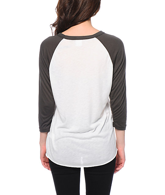 Obey Beat On The Brat Natural & Charcoal Baseball Tee