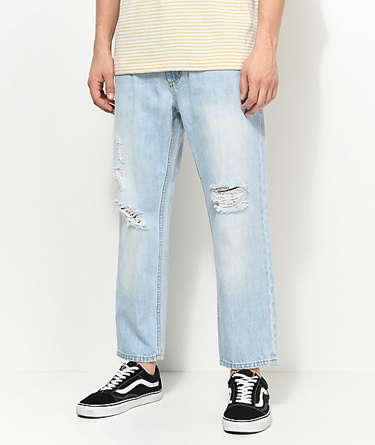 Obey Bender 90s Destroyed Cropped Light Blue Jeans