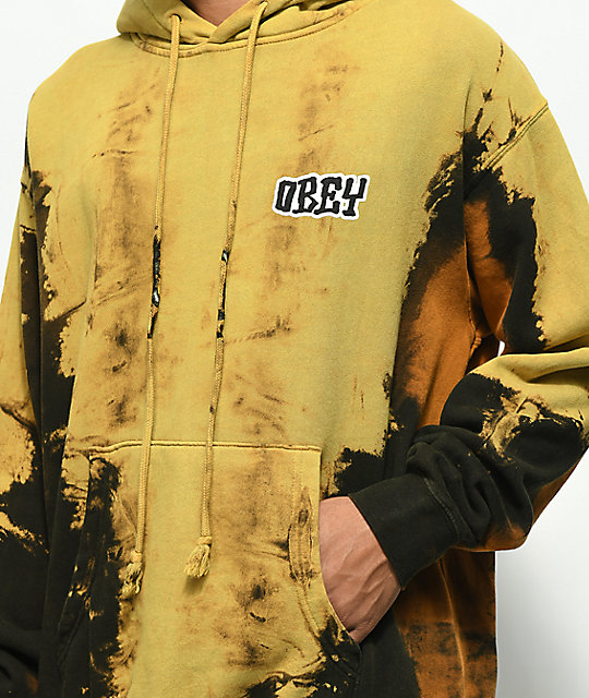 Obey Better Days Bleached Tie Dye Black & Rust Hoodie
