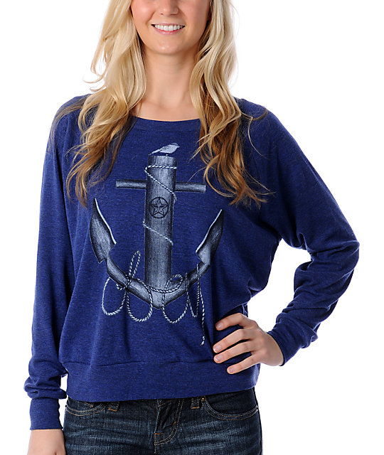 Obey Big Anchor Long Sleeve Navy Raglan Top