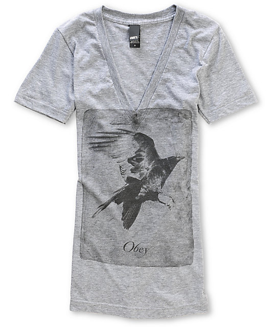 Obey Black Crow Grey V-Neck T-Shirt