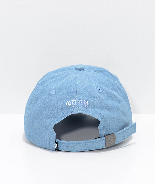 Obey Break Blue Denim Strapback Hat