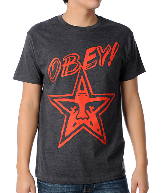 Obey Brush Star Heather Charcoal T-Shirt