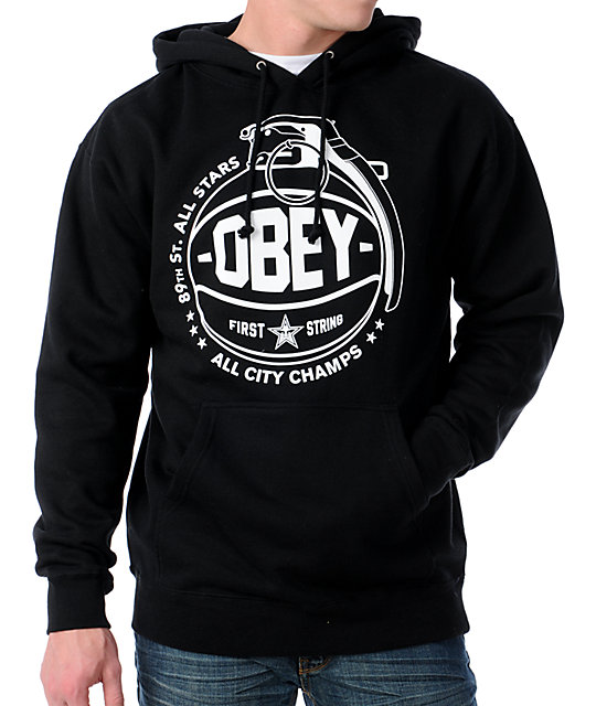 Obey Cant Jump Black Pullover Hoodie