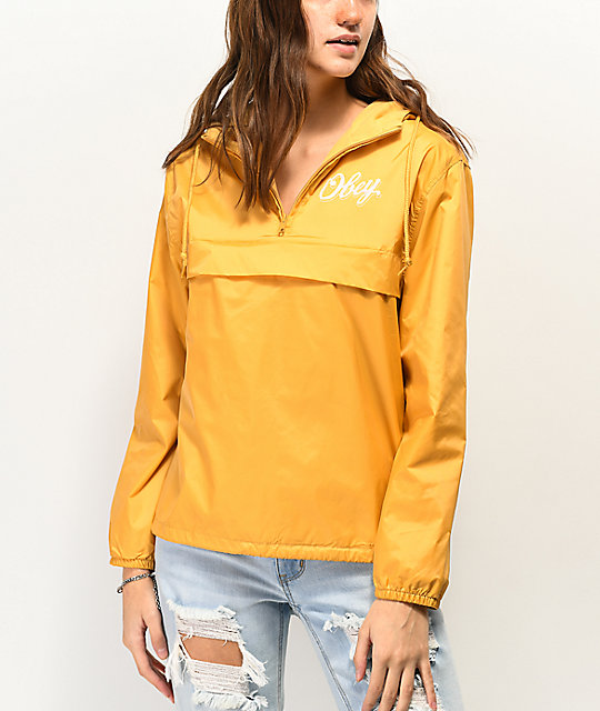 Obey Careless Whispers Yellow Windbreaker Jacket