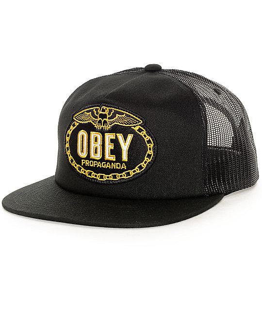 498dd2226ea Obey Chains Black Trucker Hat