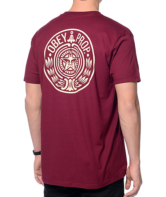 Obey Circular Wreath Burgundy T-Shirt