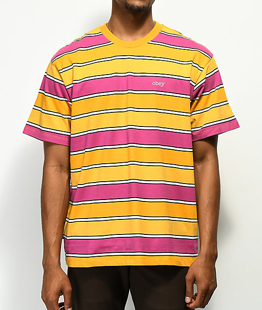 Obey Clover Orange, Pink & Yellow Striped T-Shirt