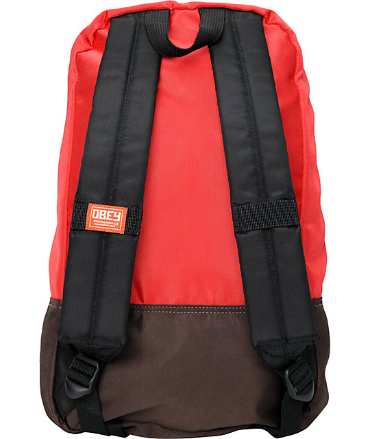 Obey Commuter Red & Brown Backpack