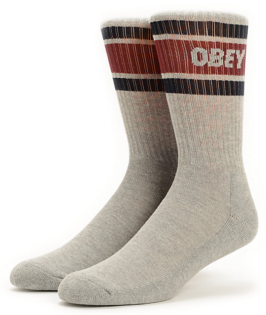 Obey Cooper Heather Grey & Navy Crew Socks