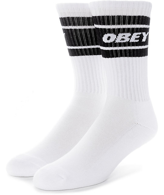 Obey Cooper II White & Black Crew Socks