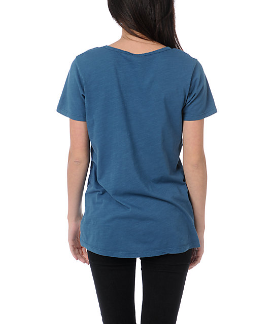 Obey Crossed Arrows Marine Blue V-Neck T-Shirt
