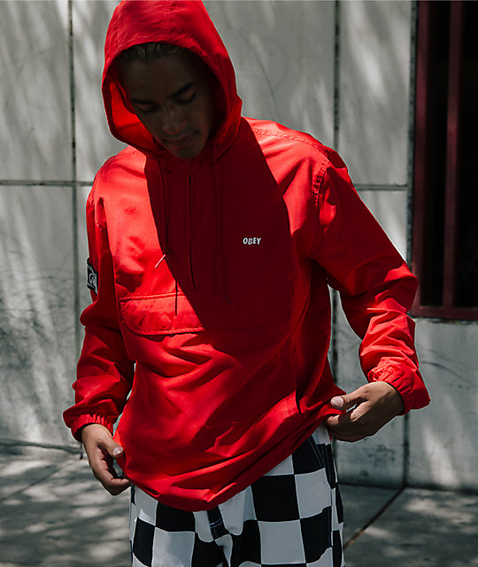 Obey Crosstown II Red Anorak Jacket
