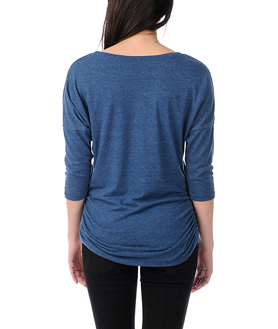 Obey Cruise Liner Heather Blue Tri-Blend Dolman Top