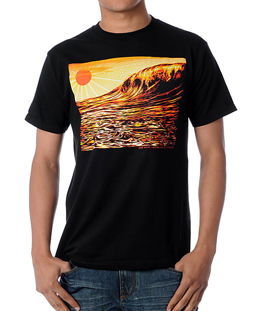 Obey Dark Wave & Rising Sun Black T-Shirt