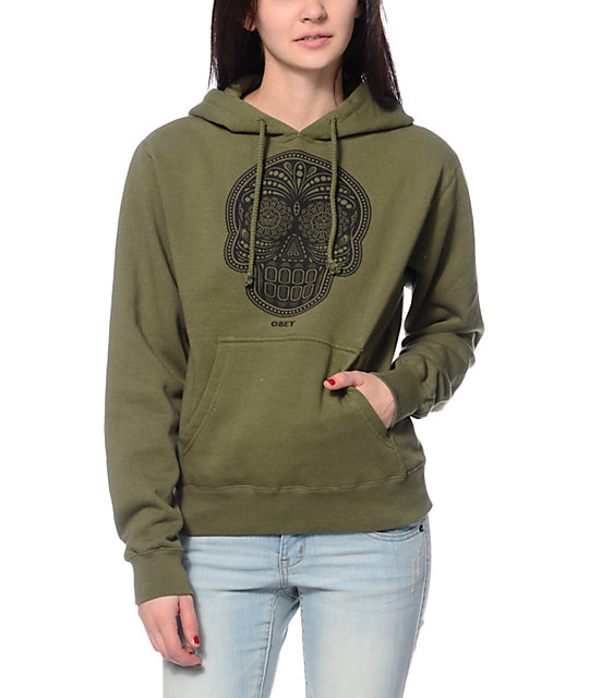 Obey Day Of The Dead Army Green Pullover Hoodie