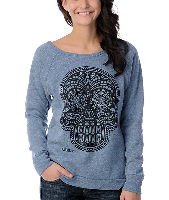 Obey Day Of The Dead Blue Vandal Scoop Neck Sweatshirt