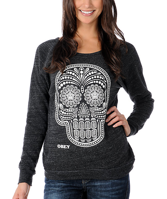 Obey Day Of The Dead Glow In The Dark Charcoal Scoop Neck Sweatshirt