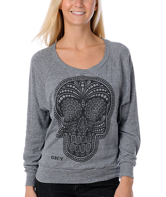 Obey Day Of The Dead Grey Top