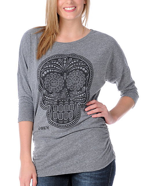 Obey Day Of The Dead Heather Grey Dolman Shirt