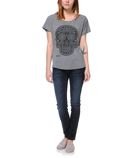 Obey Day Of The Dead Heather Grey Dolman T-Shirt