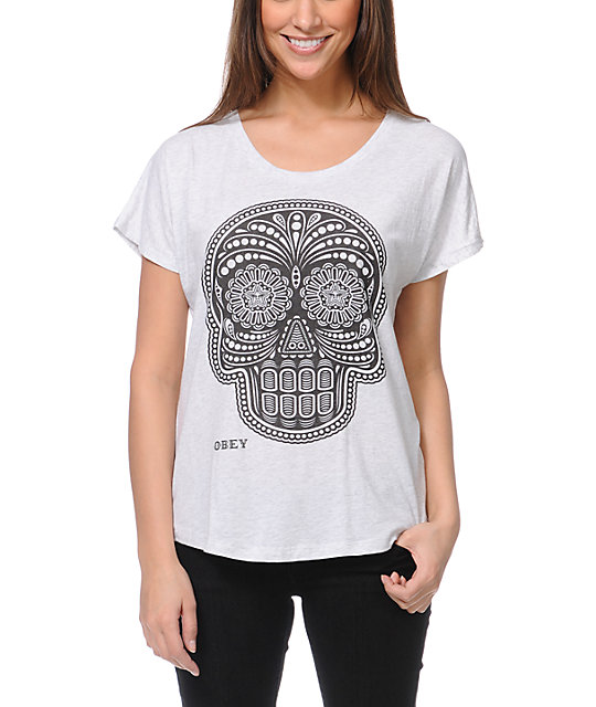 Obey Day Of The Dead Heather White Dolman T-Shirt