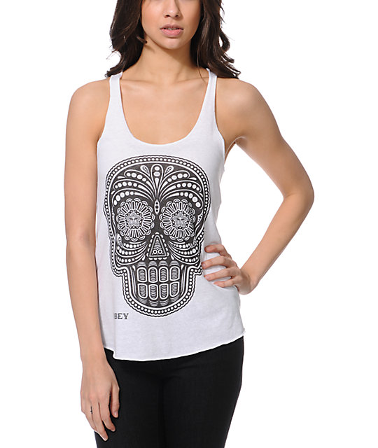 Obey Day Of The Dead White Tank Top