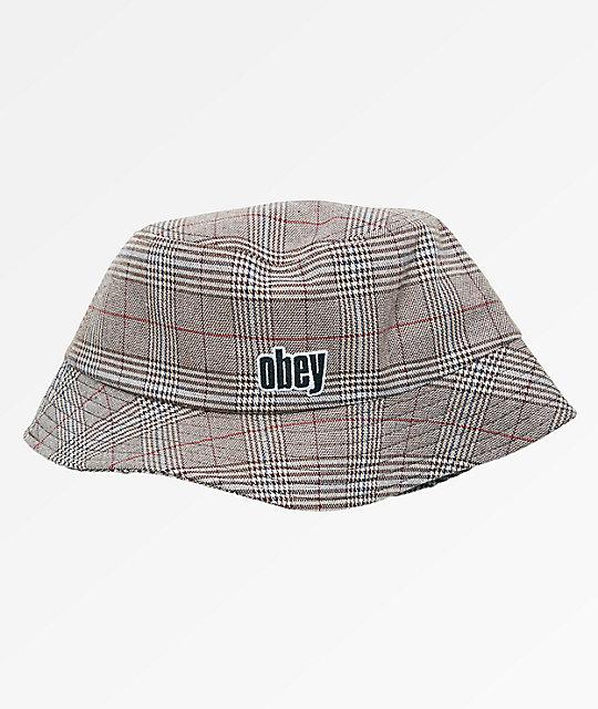 Obey Dayton Khaki   Plaid Bucket Hat  15002229bd5