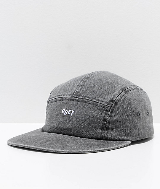 Obey Decades Black 5 Panel Strapback Hat