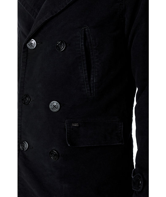 Obey Decker Mens Black Pea Coat