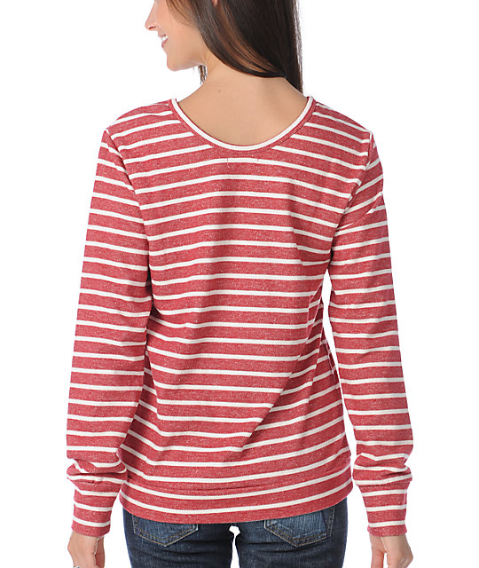 Obey Devil Deep Red & White Striped Crew Neck Sweatshirt