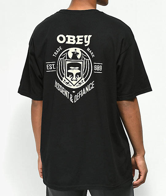 Obey Dissent & Defiance Eagle Black T-Shirt