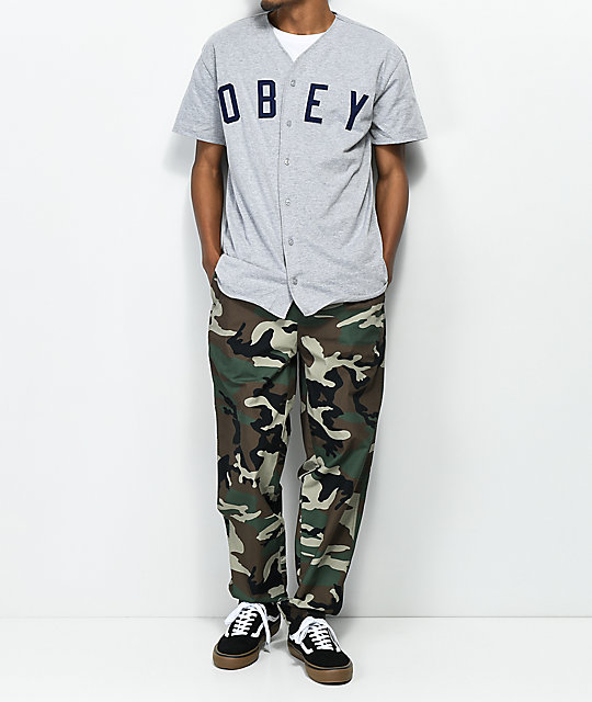 336714afe ... Obey Double Play Grey   Navy Baseball Jersey