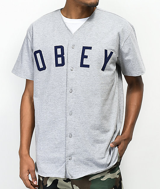 Obey Double Play Grey & Navy Baseball Jersey