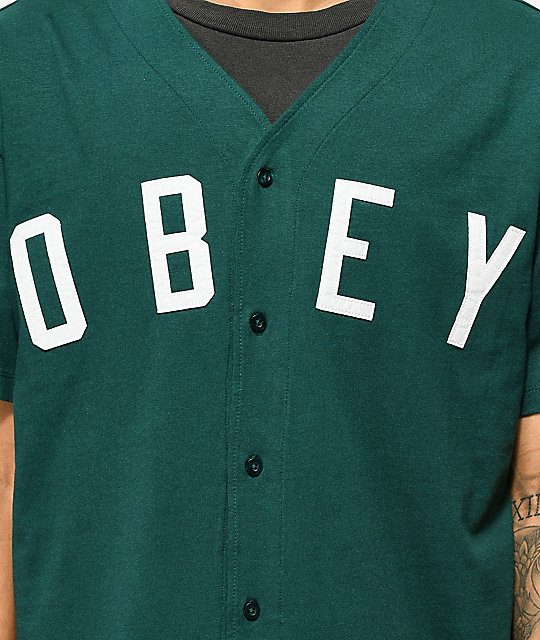 Obey Double Play Spruce Green Baseball Jersey